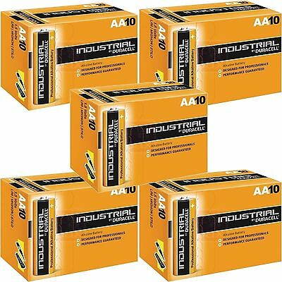 50 x DURACELL INDUSTRIAL AA BATTERIES ALKALINE 1.5V LR6 MN1500  PROCELL EXP-2023