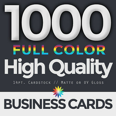 1000 Full Color Business Cards Both Sides FREE DESIGN & FREE SHIPPING