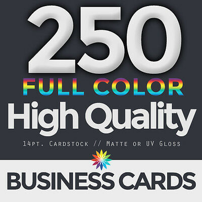 250 Full Color Business Cards Both Sides FREE DESIGN & FREE SHIPPING