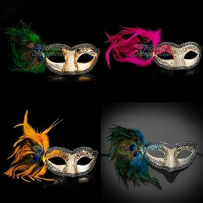 Musical Peacock Mardi Gras Venetian Masquerade Mask with Feathers for Women