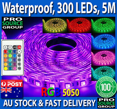 Waterproof 5050 RGB 5M 300 LED SMD LEDS Strip Light 12V + 24 key IR Controller