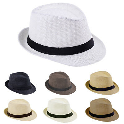 Men Women Kids Children Boys Straw Black Band Fedora Trilby Pananma Hats Caps