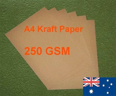 180 X A4 Kraft Paper Brown 250GSM All Wood Pulp Made