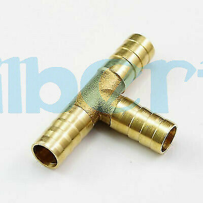 2PCS Tube ID 10mm Barbed Brass Tee 3 Ways Hose Adapter Coupler