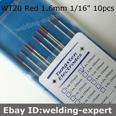 "WT20 1.6mm X 150mm 1/16"" x 6"" 10PK Red Tip 2% Thoriated TIG Tungsten Electrode"
