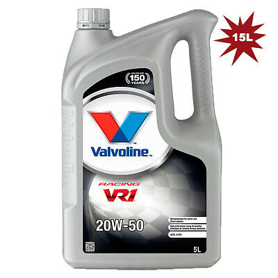Valvoline VR1 Racing 20W-50 Mineral Car Engine Motor Oil 5 Litre - 3x5 = 15L