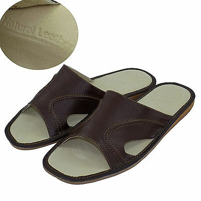 Mens Leather Slippers Shoes Sandals, Flip Flops, Brown Size 6-13