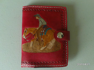 Hand Carved Leather Cutting Horse Note Book Cover Aw Leather Goods