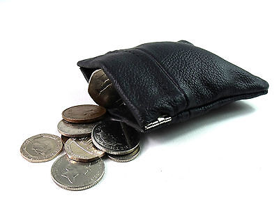Mens Ladies Soft Real Black Leather Coin Pouch Purse Wallet Snap Top Card Holder