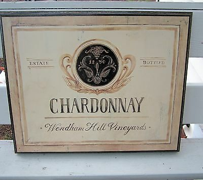 "Chardonnay Framed Picture Sign Distressed Design Lanford Cellars 16x20"" Canada"