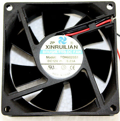 80mm Xinruilian RDH8025S1 Brushless DC Fan W/ 120V AC to 12V Adapter Transformer