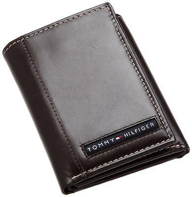 New Tommy Hilfiger Cambridge Brown Leather Credit Card Case Trifold Men's Wallet