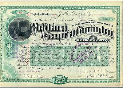 Pittsburgh McKeesport & Youghiogheny Railroad Stock Certificate Pennsylvania