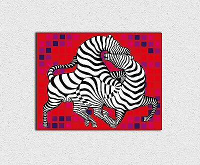 Victor Vasarely Playful zebras 70x90 cm STAMPA TELA CANVAS PRINT TOILE LIENZO