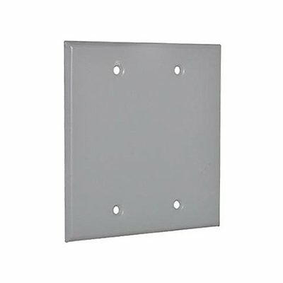Master Electrician 2BC Double Gang Blank Receptacle Outlet Cover -Gray