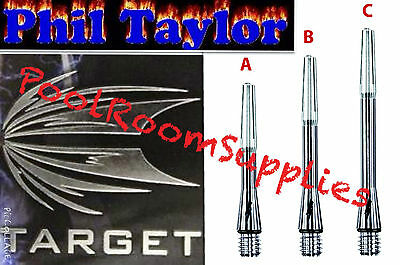 Target Phil Taylor 9 Five Titanium Power Dart Shafts Stems 3 Fitted With O'ring