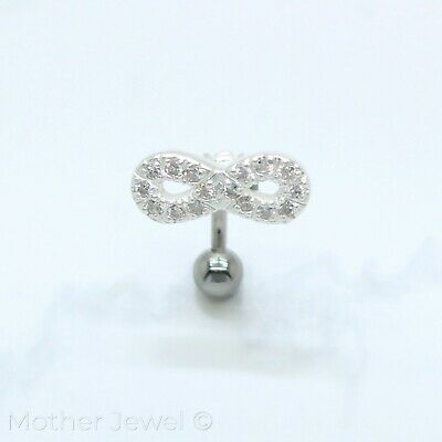 14G Infinity Forever Silver Surgical Steel Belly Button Barbell Bar Navel Ring