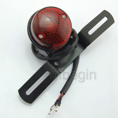 Universal Motorcycle 12V Black Tail License Plate Rear Light Lamp Round Red Lens