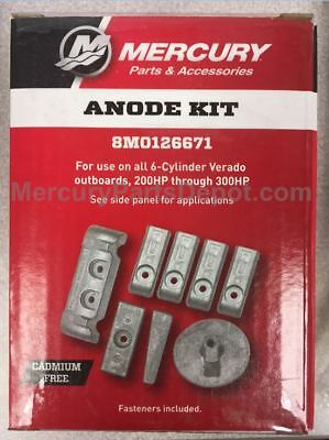 Mercury Verado L6 (225/250/275/300/350) Outboards Anode Kit - Part # 8M0126671
