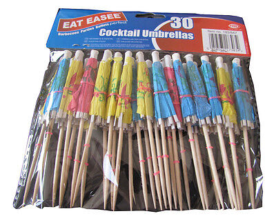 PACK OF 30 x PAPER COCKTAIL UMBRELLAS TROPICAL PARTY BARBECUE BUFFET CAKES
