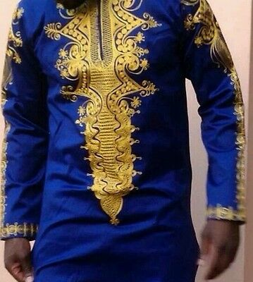 Odeneho Wear Polished Cotton Blue & Gold Shirt. African Wear Clothing.  Size XL