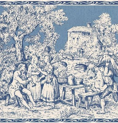 Blue Colonial Toile Wallpaper Border T742459B