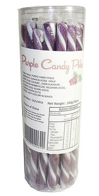 30 Candy Poles Purple & White Lollies Candy Buffet Lolly Sticks