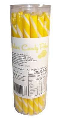30 Candy Poles Yellow & White Lollies Candy Buffet Lolly Sticks