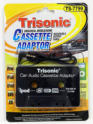 NEW TRISONIC AUDIO CAR CASSETTE TAPEADAPTER 3.5 MM FOR iPhone Ipod MP3 CD AUX