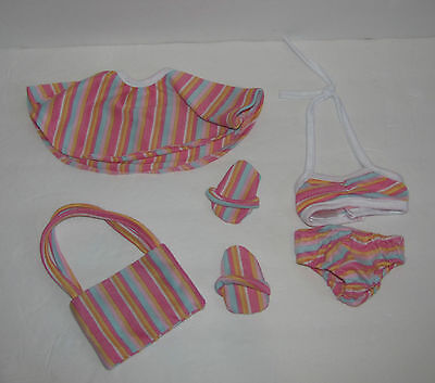 Doll Club of America Striped Pink Swimsuit Bathing Suit - Fits American Girl