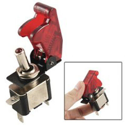 DC 12V On Off Racing Car Illuminated Toggle Switch + Red Cover LW
