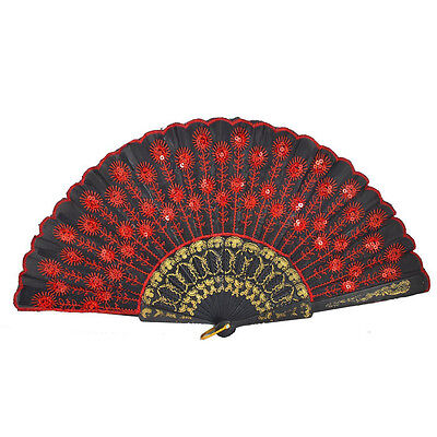 Red Embroidered Flower Pattern Black Cloth Folding Hand Fan Fancy Dress Gift LW