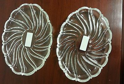 "2 Mikasa Oval Sweet Dishes Peppermint Clear 9.5"" SA972/847 NEW IN BOX"
