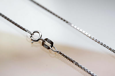 """BRAND NEW Solid 14kt White Gold [0.5mm or 1mm] Box Chain Necklace 16"""" - 22"""""""