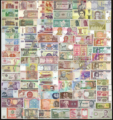100 PCS Different Mix World Banknotes 52 Countries Genuine Currency Notes UNC
