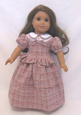 "Doll Clothes 18"" Doll Dress Plaid Civil War Era Fits American Girl Doll Addy"