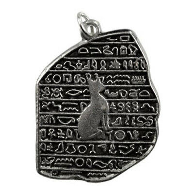 Rosetta Stone Amulet Ancient Egyptian Hieroglyphics Cat Necklace Pendant Charm