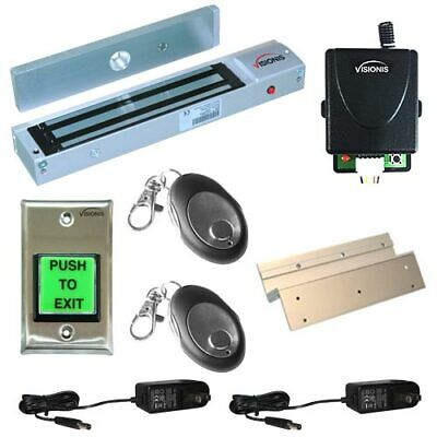 Visionis Access Control Inswing 600lbs Mag Lock and Wireless Receiver Remote Kit