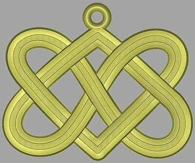 New two hearts intertwined 3d or engrave STL file Model for CNC Router Machine