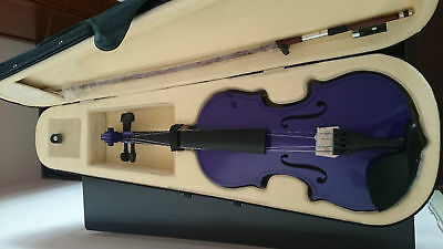 Student Acoustic Violin Size 1/4 Maple Spruce with Case Bow Rosin Purple Color