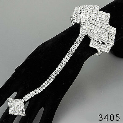 Silver Paved Rhinestones Elegant Bohemian Fold Over Bracelet With Ring Extension