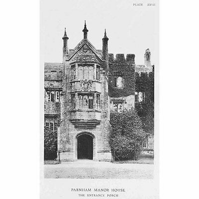 BEAMINSTER Parnham Manor House Entrance Porch - Vintage Photographic Print 1929