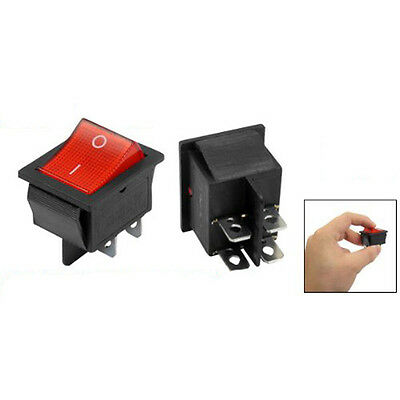 5 x Red Illuminated Light On/Off DPST Boat Rocker Switch 16A/250V 20A/125V AC LW