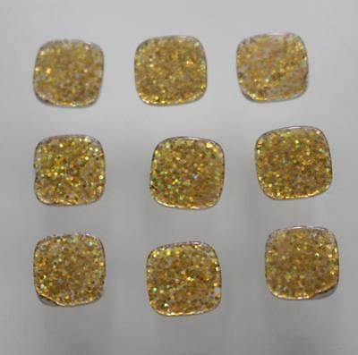 set 9 fab tiny & sweet gold glitter shank buttons rounded square buttons 11mm