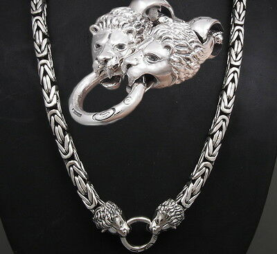 "30"" Heavy Lion Bali Byzantine 925 Sterling Silver Mens Necklace King Chain Pre"