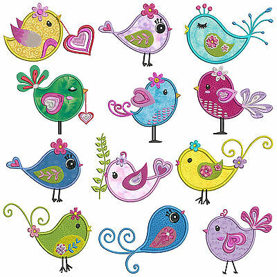 DIVA BIRDS * Machine Applique Embroidery Patterns * 12 Designs in 2 sizes