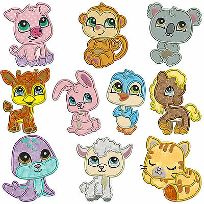 BABY ANIMALS ** Machine Applique Embroidery Patterns * 10 Designs in two sizes