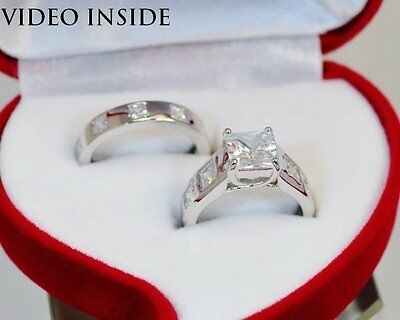 3.48 Ct Engagement Diamond Ring Solid Sterling Silver 925