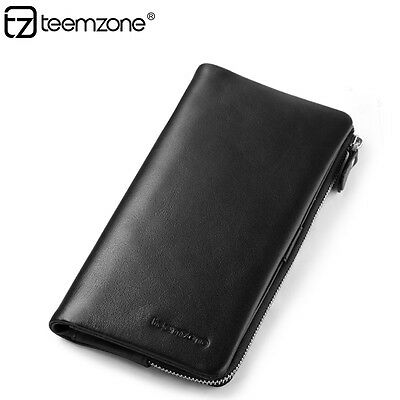 Men Real Soft Leather Clutch Wallet ID Coin Purse Phone Holder Checkbook Black