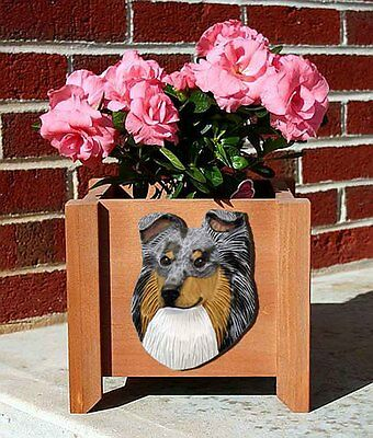 Sheltie Planter Flower Pot Blue Merle